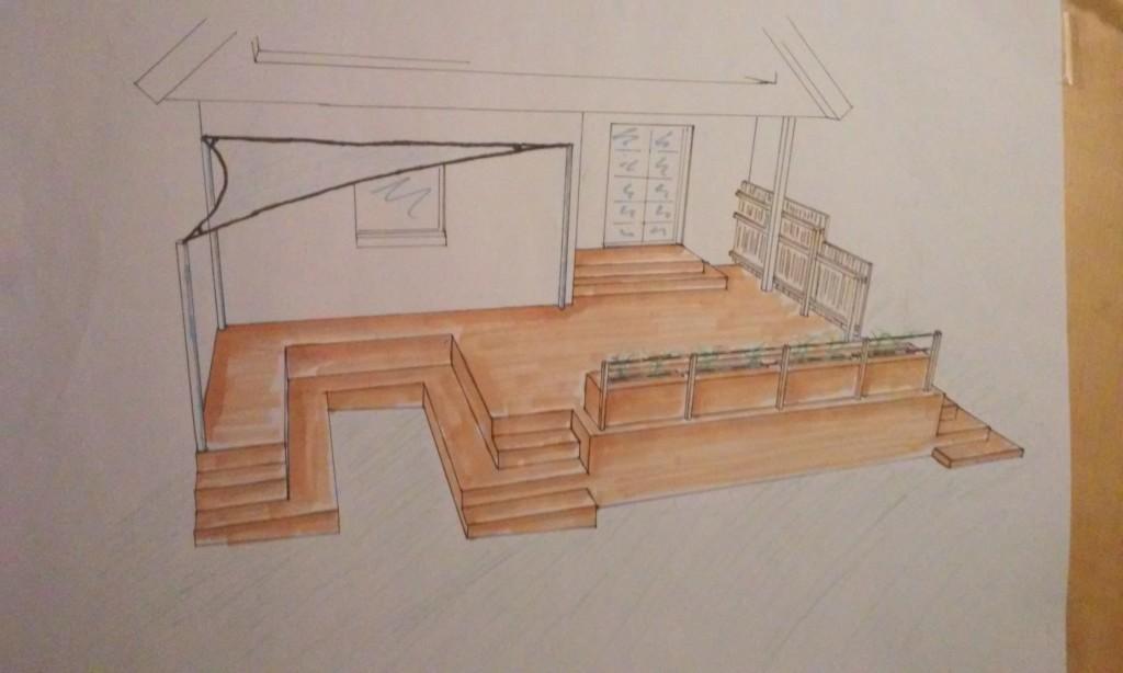 Design og tegning. Her med ønsket om en lavere beliggende terrasse i flere niveauer og opholdssteder samt åbenhed og udsigt over haven.